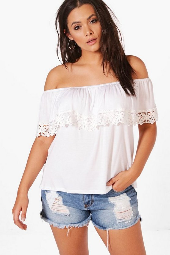 Plus Kelly Bardot Double Layer Crochet Trim Top