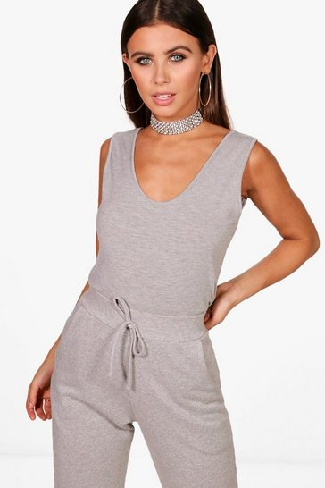 Womens Grey marl Petite Basic Vest