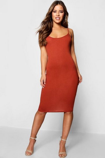Tan Petite Basic Bodycon Midi Dress