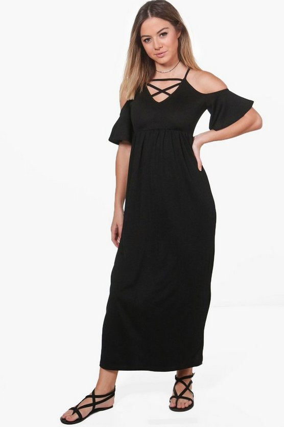 Petite Holly Open Shoulder Lattice Detail Maxi Dress