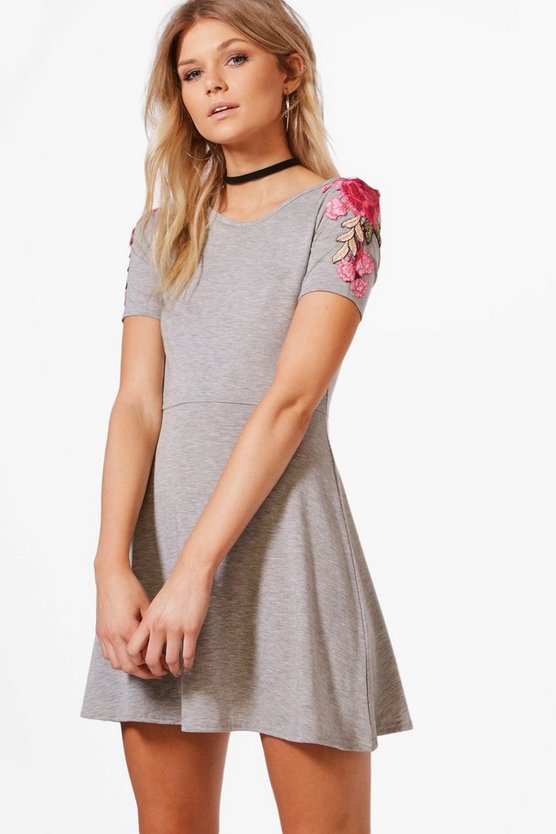 Petite Applique Detail Skater Dress