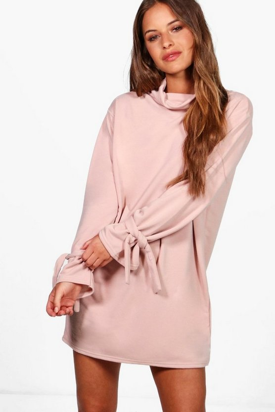 Petite Kerry Tie Sleeve Sweat Dress
