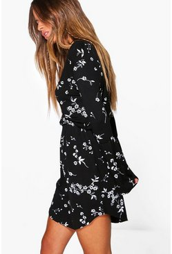 Womens Multi Petite  Printed Flute Sleeve Wrap Dress