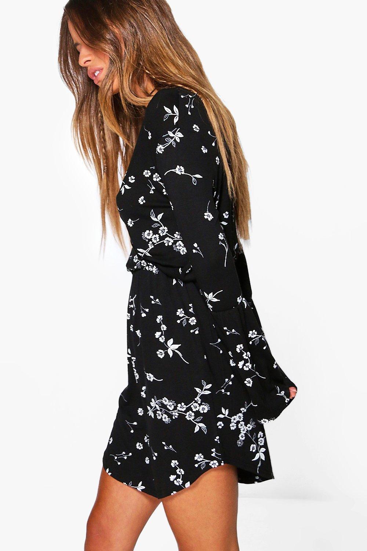 65e69a6910b2a Womens Multi Petite Printed Flute Sleeve Wrap Dress. Hover to zoom