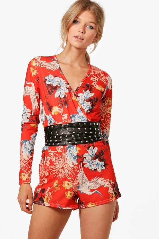 Petite Lucy Oriental Wrap Playsuit