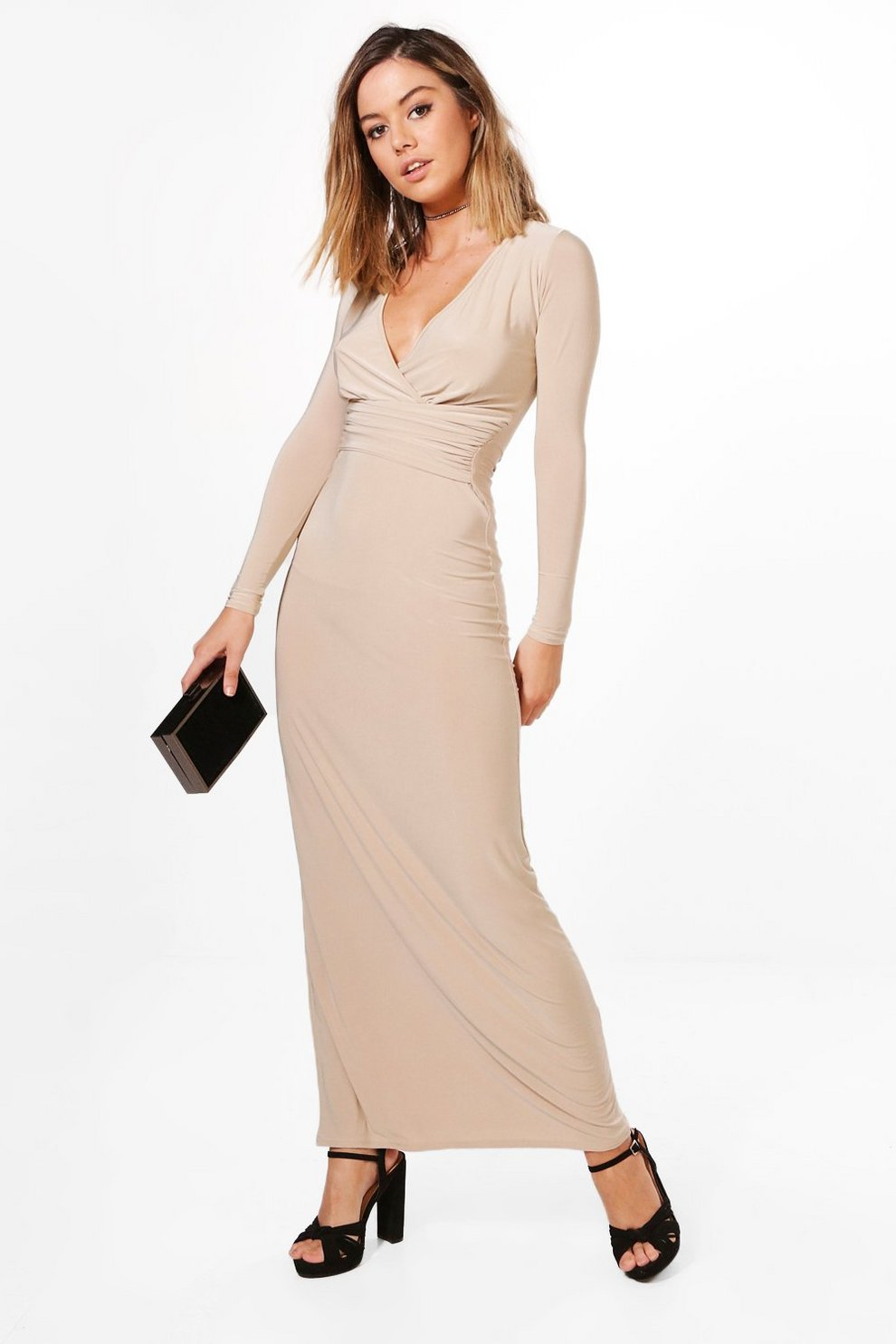 24b35cad07187 Petite Amber Wrap Gather Detail Maxi Dress | Boohoo