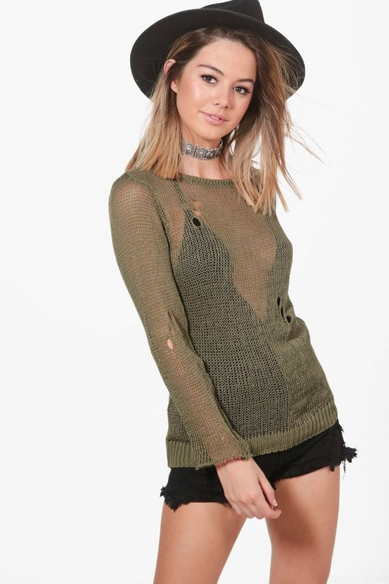 Petite Kelly Oversized Distressed Jumper
