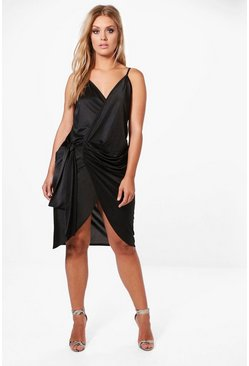 Womens Black Plus Slinky Strappy Knot Wrap Midi Dress