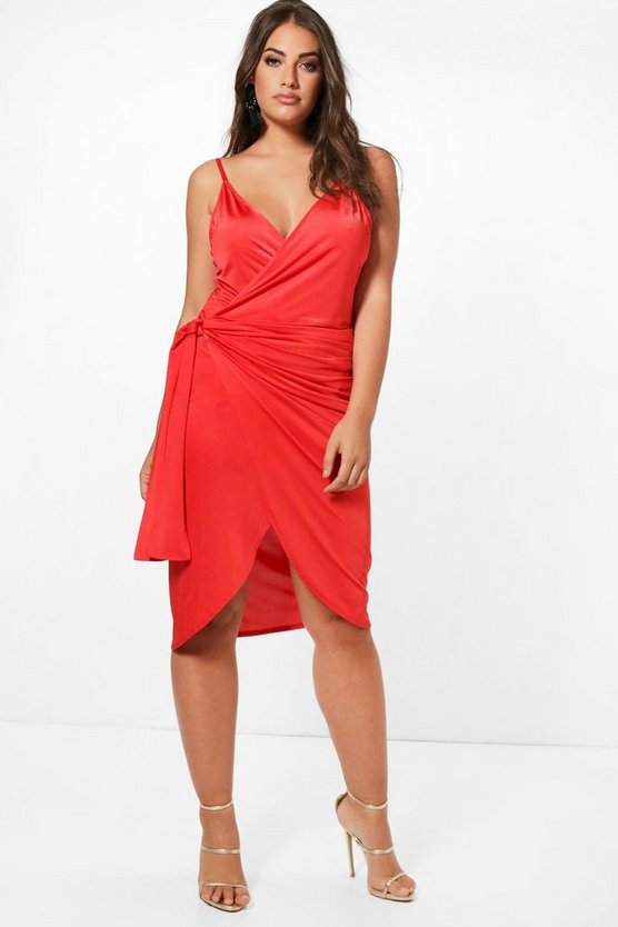 Womens Flame red Plus Slinky Strappy Knot Wrap Midi Dress