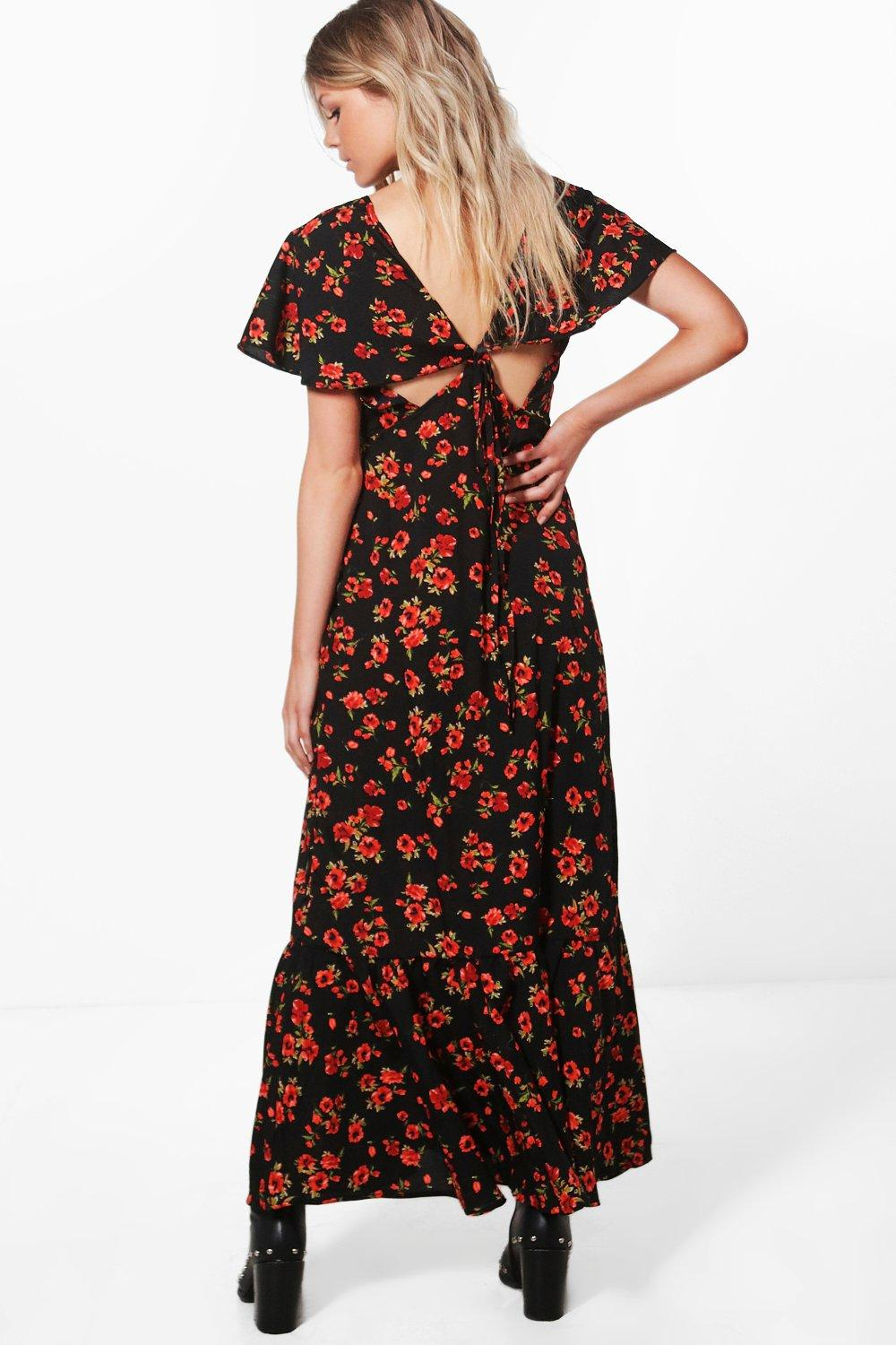bddc0aab3ed Womens Black Petite Hannah Floral Tie Back Maxi Dress. Hover to zoom