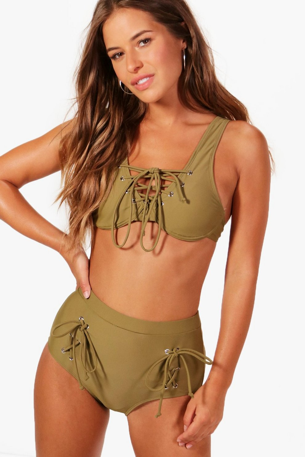 225998eebe2 Petite Lace Up Detail Bikini   Boohoo