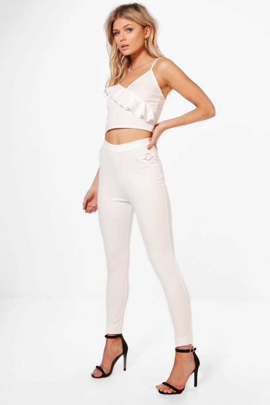 Petite O-Ring Detail Crepe Pants