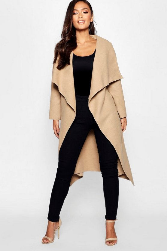 Womens Camel Petite  Waterfall Shawl Coat