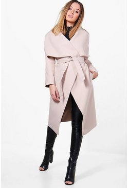 Womens Stone Petite  Waterfall Shawl Coat