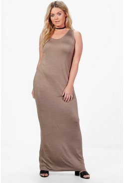 Womens Mocha Plus  Scoop Neck Maxi Dress