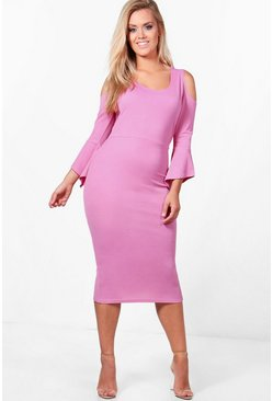 Plus Lisa Open Shoulder Frill Midi Dress, Bubblegum, MUJER