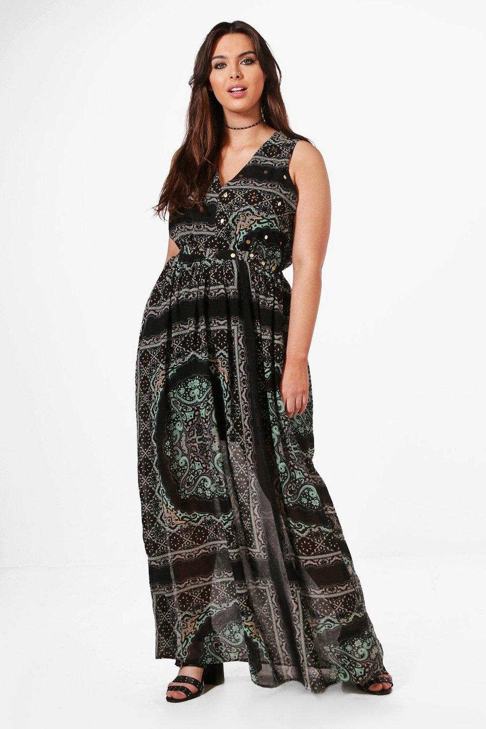6f4fb653ce80 Plus Clara Woven Paisley Coin Maxi Dress   Boohoo
