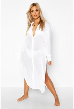 Plus  Split Leg Beach Shirt, White, Donna