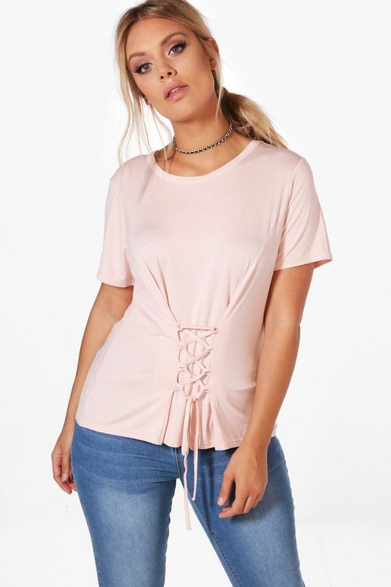Plus Ellie Lace Up Short Sleeve Top