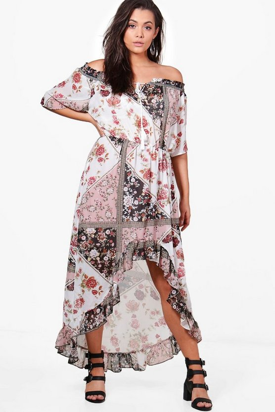Plus Jess Off The Shoulder Floral Maxi Dress