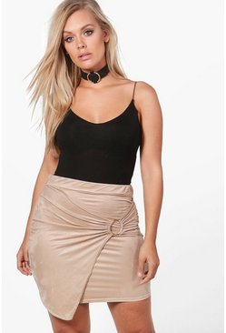 Womens Beige Plus Harriet Suedette Wrap O-Ring Mini Skirt