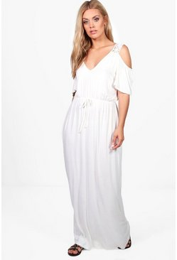 Womens Ivory Plus Crochet Lace Open Shoulder Maxi Dress