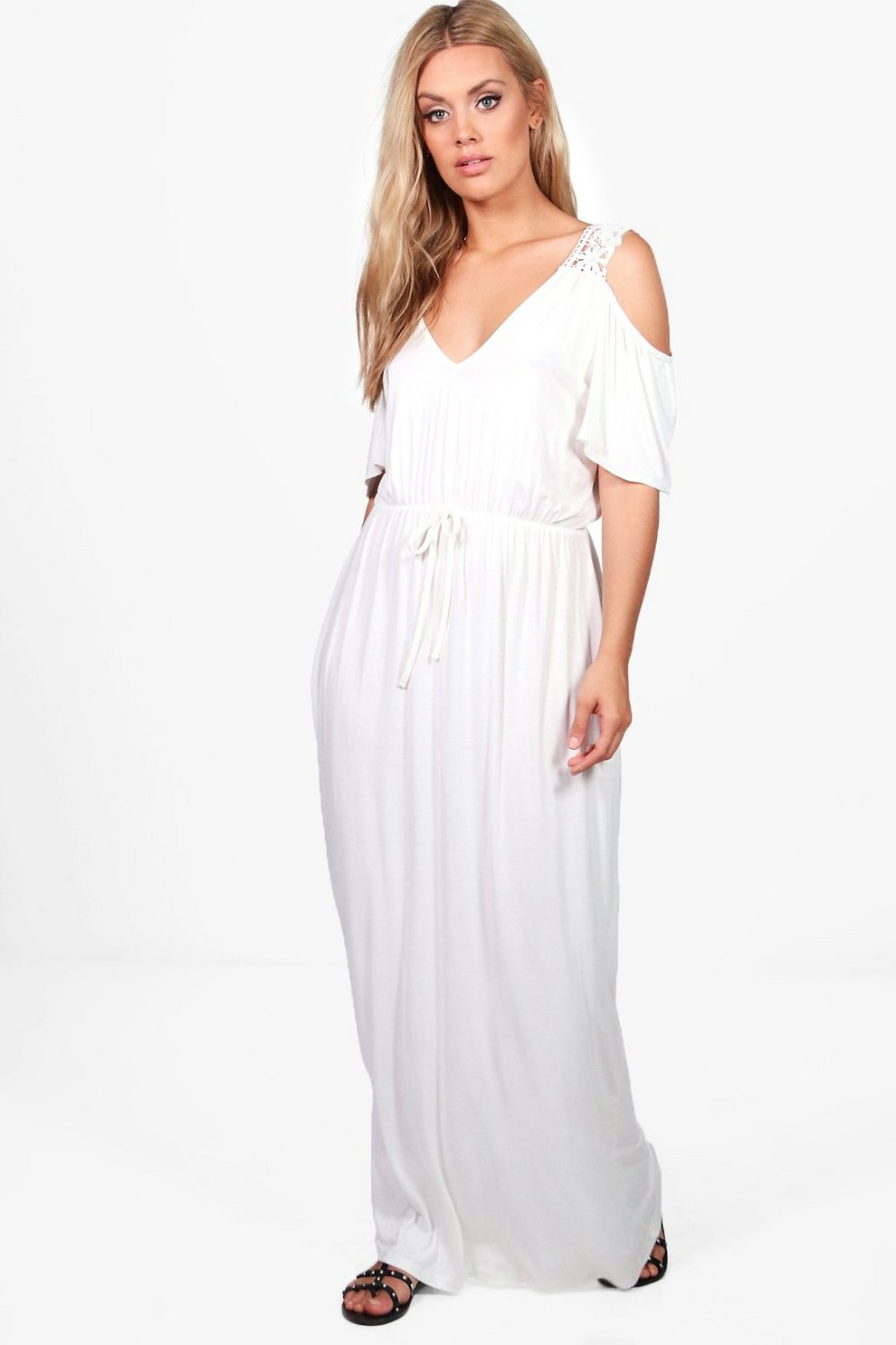 2a1ee4a29ad Womens Ivory Plus Crochet Lace Open Shoulder Maxi Dress. Hover to zoom