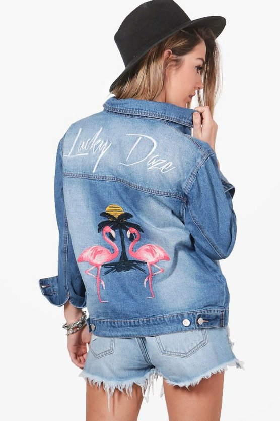 Womens Blue Petite Alice Embroidered Denim Jacket
