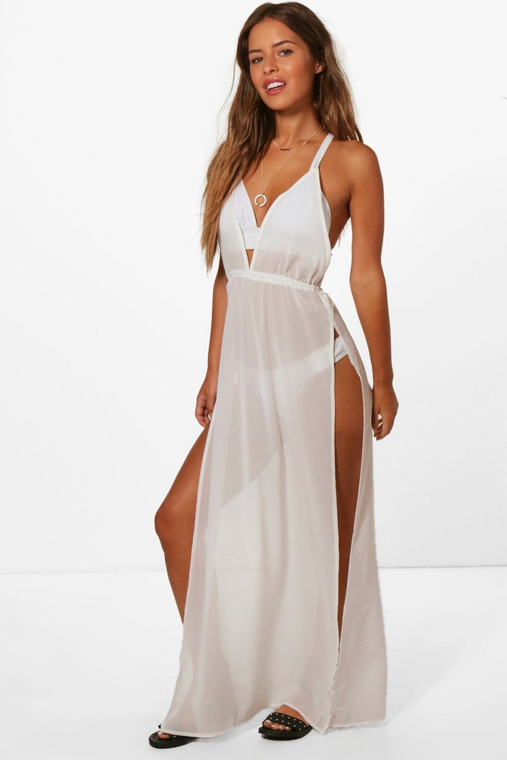 9568c4e5ea Petite Split Leg Beach Maxi Dress | Boohoo