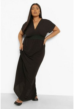 Womens Black Plus Plunge Beach Maxi Dress