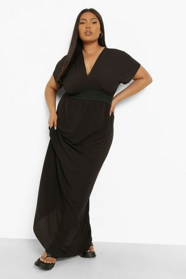 Black Plus Plunge Beach Maxi Dress