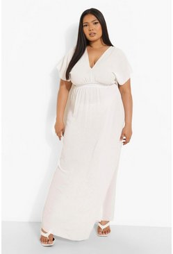 Vestido maxi playero con escote pronunciado Plus, Blanco