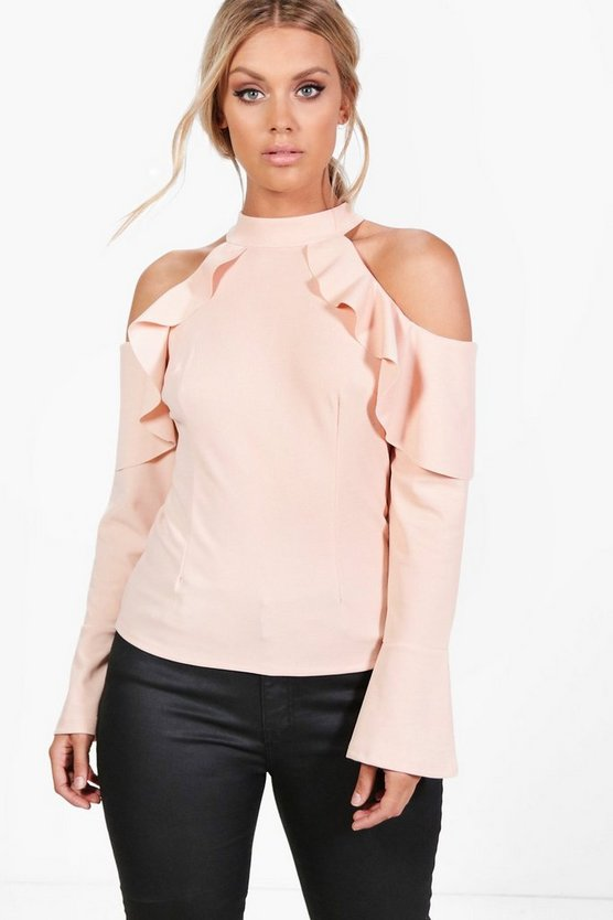 Plus Caroline Open Shoulder Frill Top
