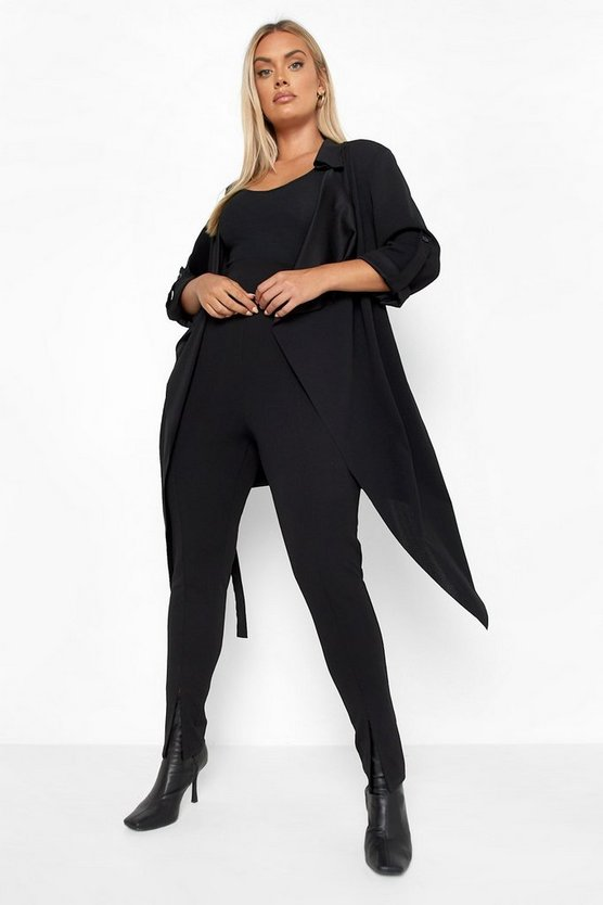 Womens Black Plus Daisy Belted Waterfall Duster Coat