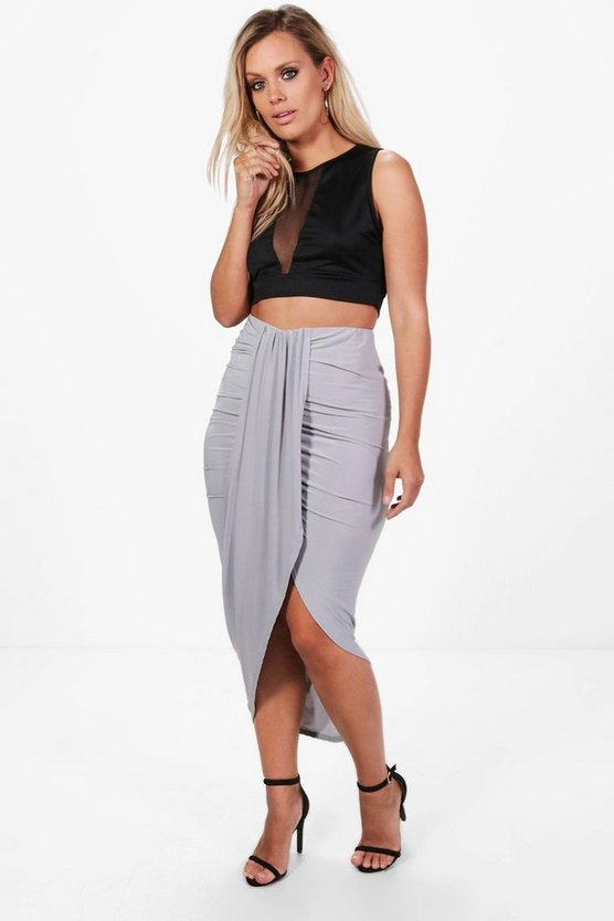Plus  Ruched Wrap Front Maxi Skirt