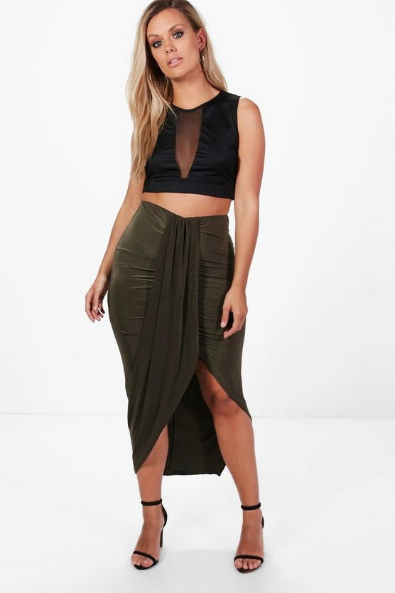 Womens Khaki Plus  Ruched Wrap Front Maxi Skirt