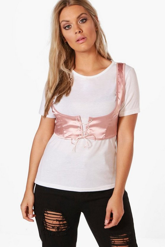 Plus Natalie Satin Lace Up Corset