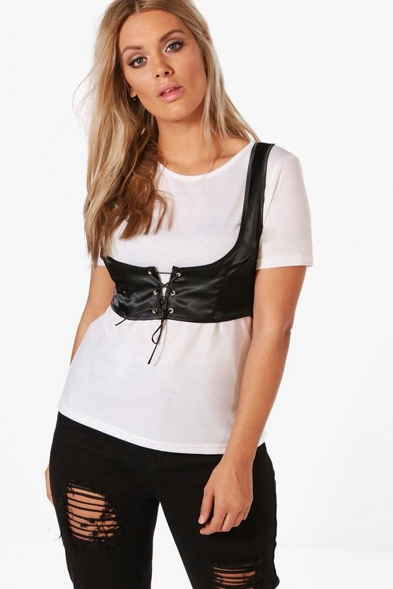 Plus Kelly Satin Lace Up Corset