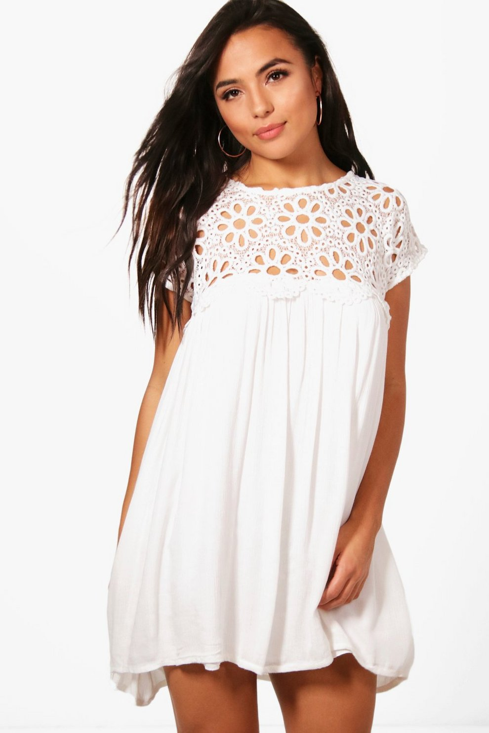 763d35ad5fa8 Petite Boutique Crochet Lace Top Shift Dress | Boohoo