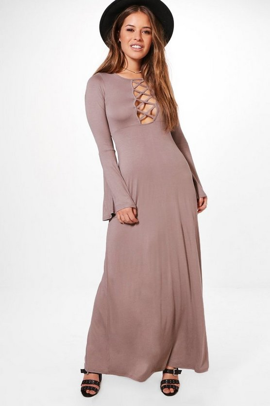 Petite Danni Lattice Detail Flute Sleeve Maxi Dress