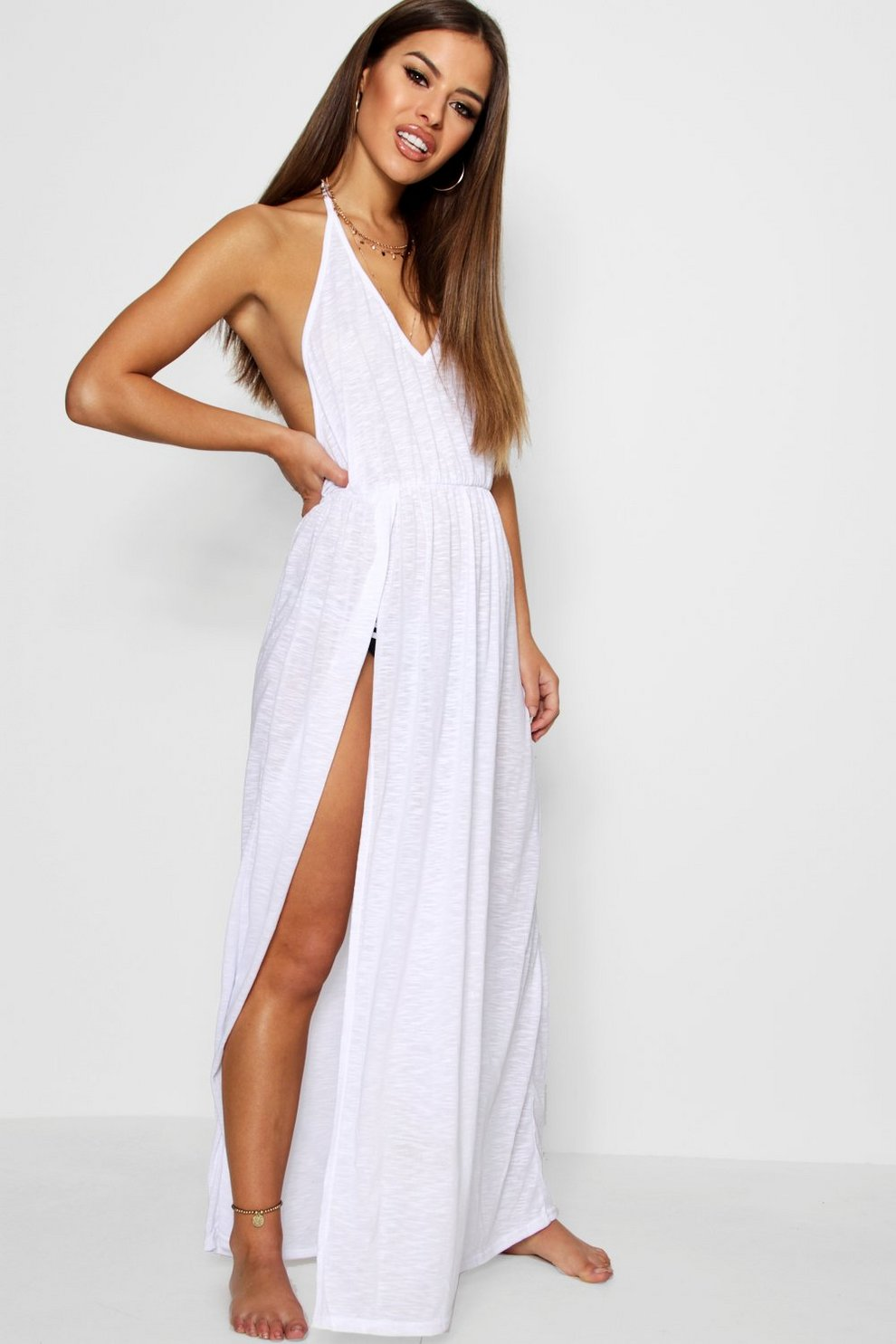 0e68d10cff1ddc Petite Alison Maxi Beach Cover-Up Dress | Boohoo