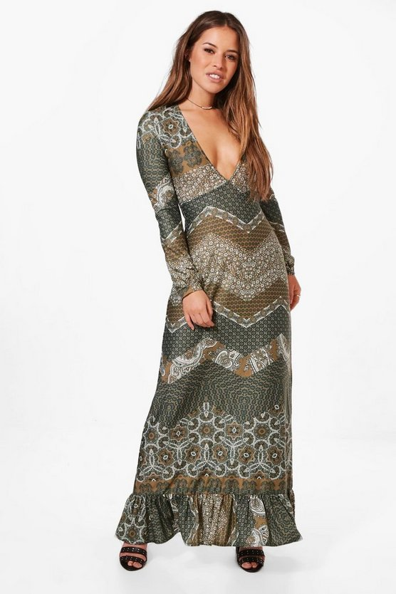 Petite Frill Hem Printed Maxi Dress