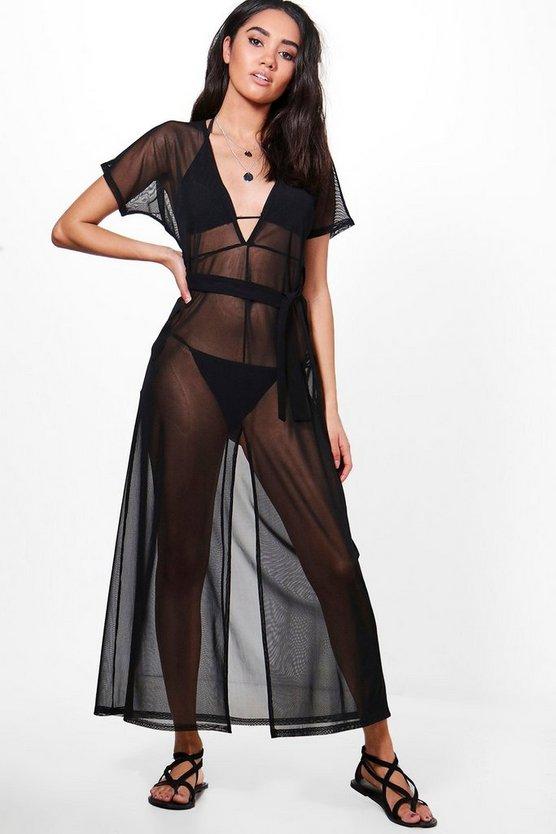 petite-kayla-mesh-plunge-maxi-dress by boohoo