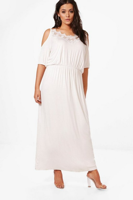 Plus Faith Lace Cold Shoulder Maxi Dress