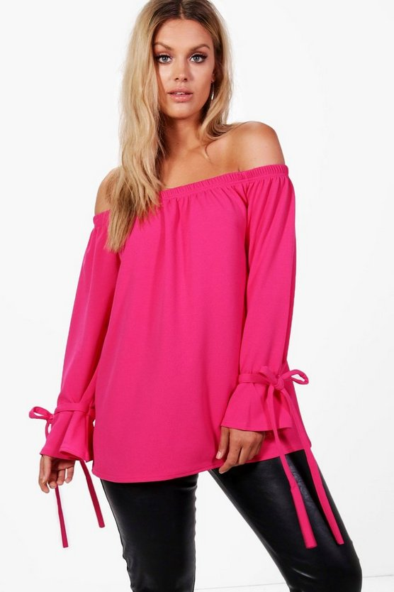 Plus Lauren Off The Shoulder Crepe Tie Sleeve Top