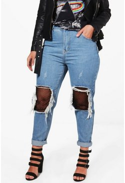 Womens Blue Plus Ripped Fishnet Boyfriend Jean