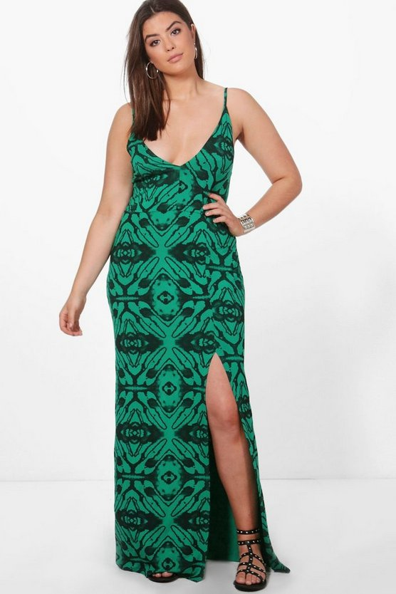 Plus Annie Animal Printed Plunge Neck Maxi Dress