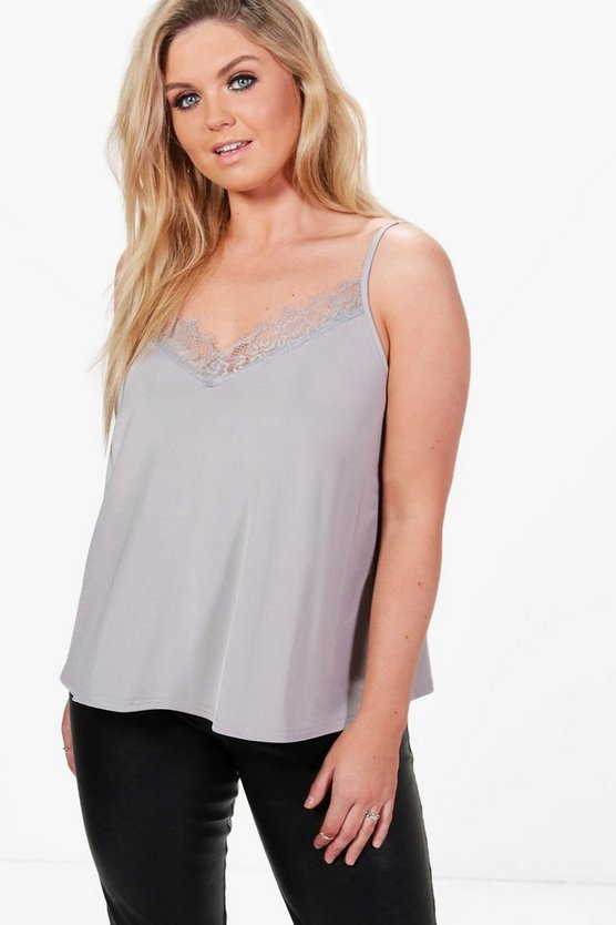 Plus Caitlin Slinky Lace Trim Cami Top