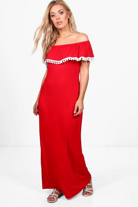 Plus Megan Off The Shoulder Pom Pom Maxi Dress