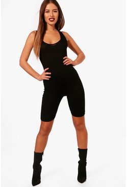 Womens Black Petite Jersey Cropped Unitard